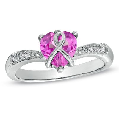 Heart Shaped Lab Created Pink Sapphire And Diamond Accent