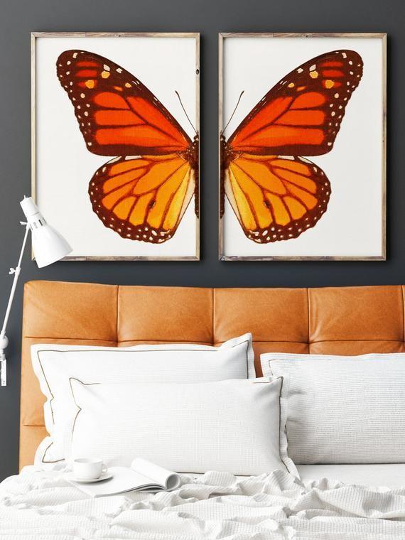 Monarch Butterfly Wall Art Set Of 2 Downloadable Prints Etsy In 2021 Butterfly Art Painting Butterfly Wall Art Diy Canvas Art