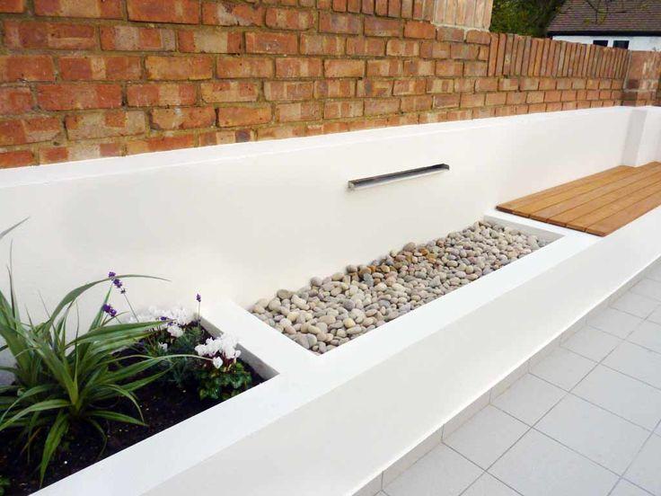 Modern water feature, garden & bench seat.