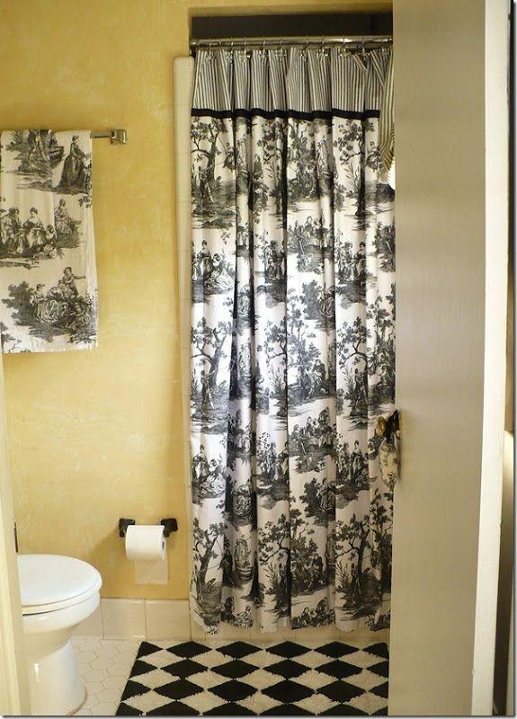 Black And White Toile Master Bathroom