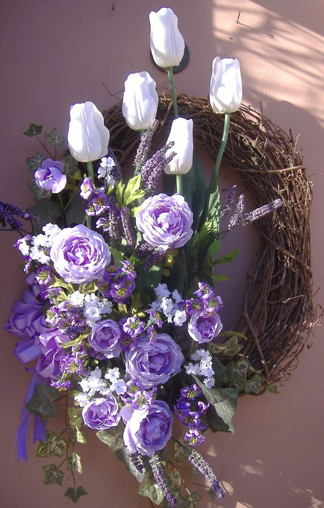 "34"" XL White Purple Tulip Floral Spring Door Wreath Handmade"