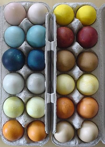 Natural Easter Egg Dyes!  Use natural ingredients to dye Easter eggs instead of using Red no.3 and Yellow no.5.  It's definitely more time consuming than using a conventional egg dye kit, but when you consider the additives used in traditional Easter egg dyes, I think you'll agree it's time well spent.