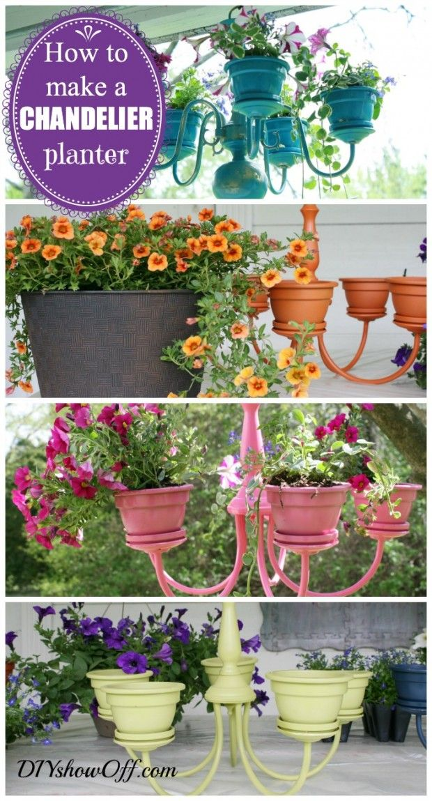I like this re-purposed light fixture planter for outside!! Especially if the flowers are a little unruly and start draping down.