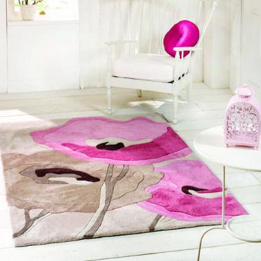 Infinite Mod Art Poppy Flowers Beige / Pink Rug - Starting from £45   brandinteriors.co.uk