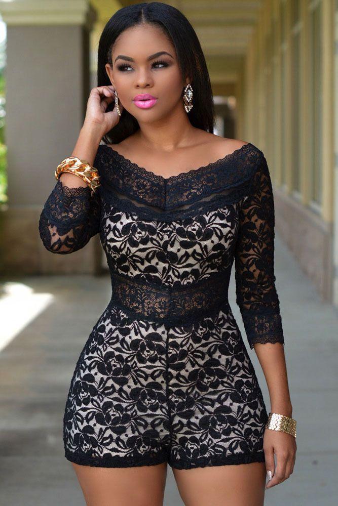 Black V-Neck Back Lace Jumpsuit