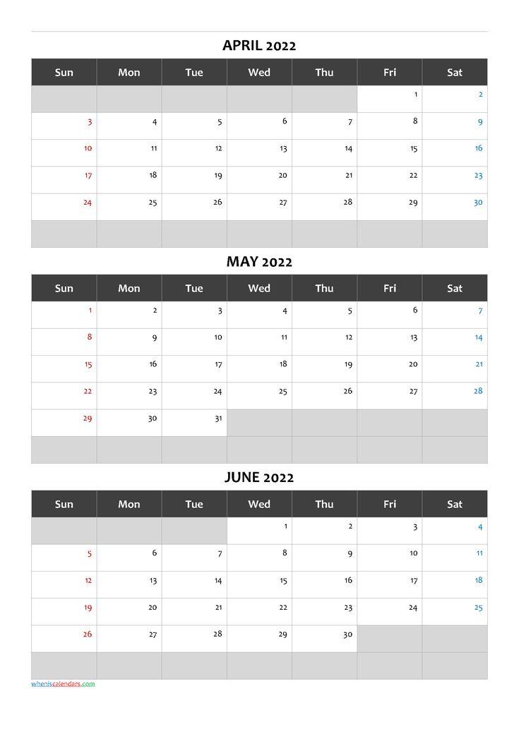 Printable Calendar April May June 2022 Q1-Q2-Q3-Q4 in ...