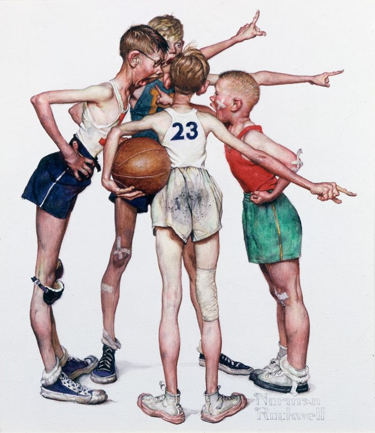 "Four Sporting Boys - Basketball  Norman Rockwell    - ""The days when the innocence of their children was a prized commodity for American parents."""