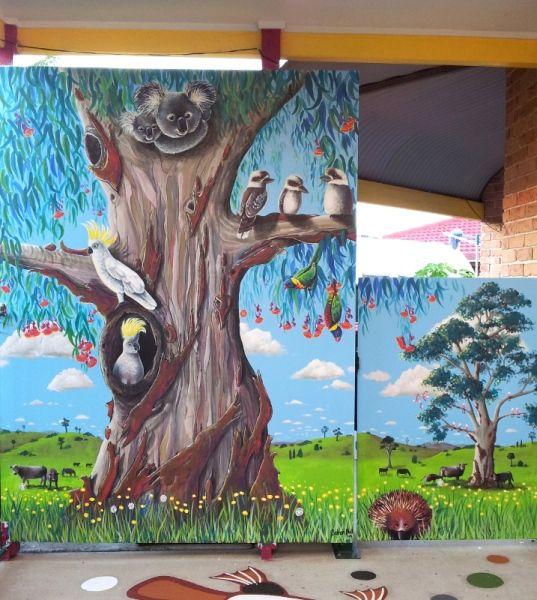 GUM TREE MURAL by Australian Artist, Selinah Bull.  Designed and painted for Kookaburra Early Learning Centre http://www.selinahbull.com