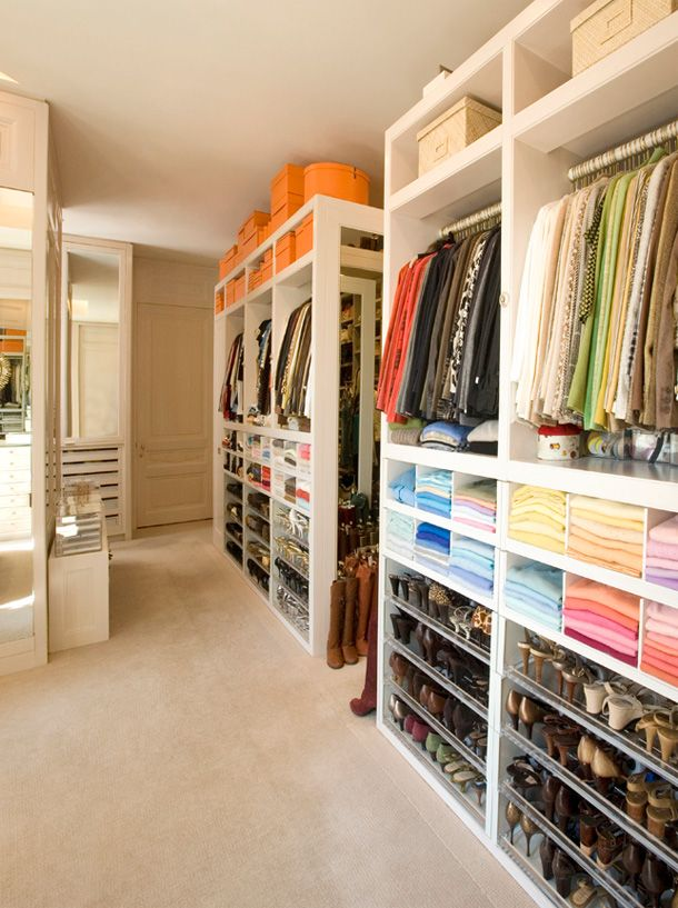 Feature I like: The basic layout. Khloe Kardashian's closet. Designed by Clos-ette. http://www.clos-ette.com/ (Click on photo for larger image.) Photo found here: http://www.thelennoxx.com/category/browse-by-room/dressing-room-closet/
