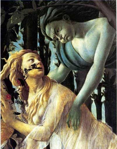 Zephyrus and Chloris, Detail from The Primavera by Sandro Botticelli, (1463-1503)
