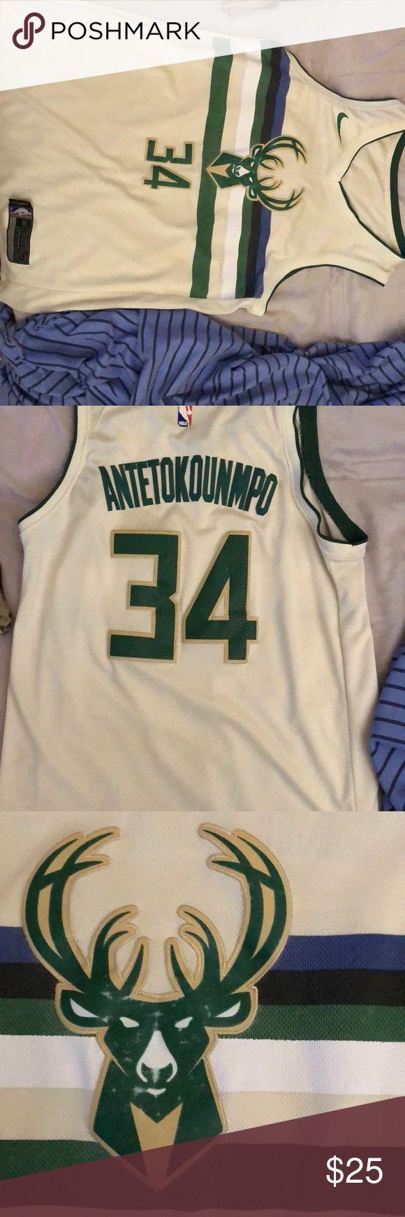 Giannis Antetokounmpo Stitched Cream Jersey | Bucks logo ...