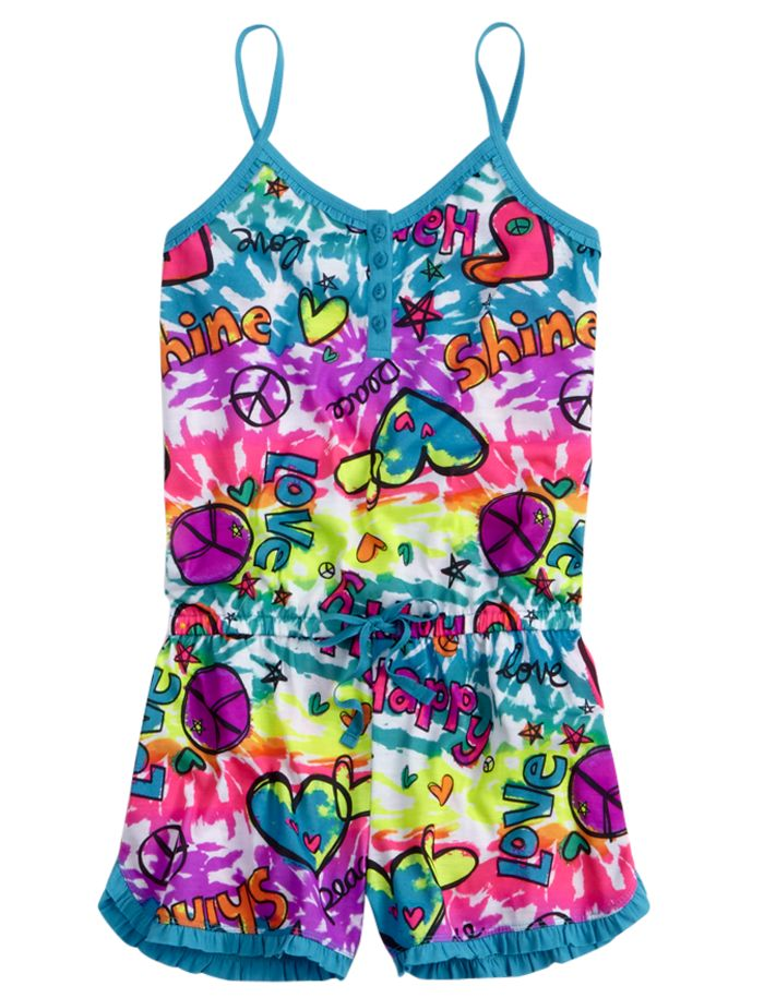 Girls clothing short sets tie dye icon romper shop justice