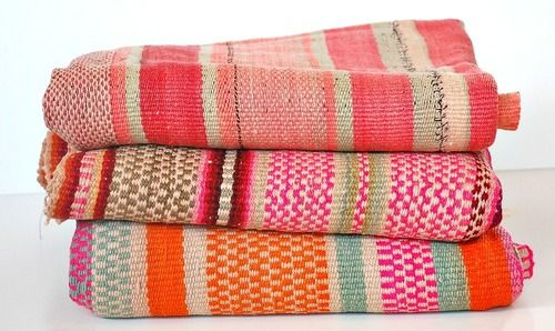 Bolivian Woolen Frasada | A vintage, colorfully striped throw/blanket from the Aymara people of northern Bolivia.