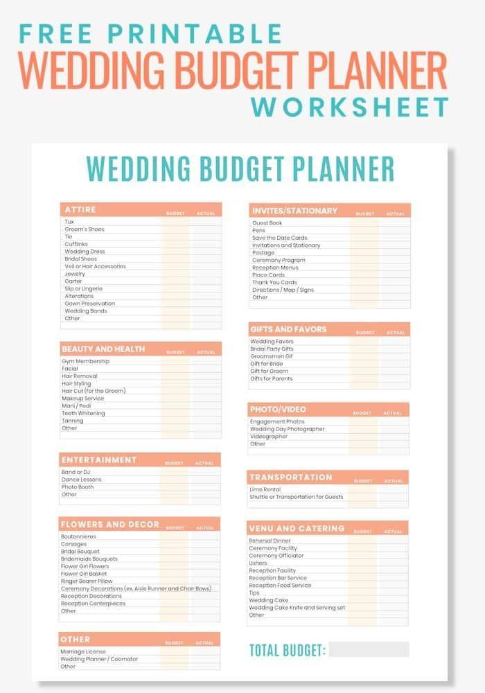 Free Printable Wedding Budget Planner Worksheet Wedding Budget Planner Free Wedding Budget Free Wedding Printables