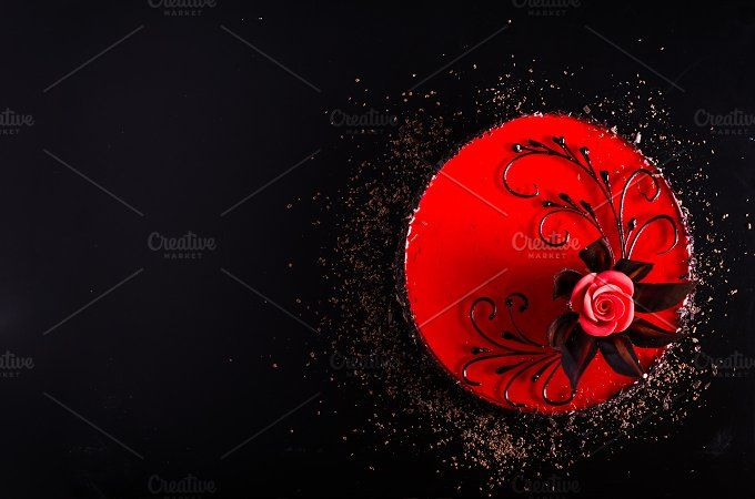 Red Cake with rose on black background. Top view. Valentine's Day. Free space for your text. by Enjoy Photo on @creativemarket