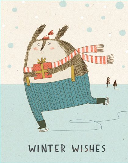 Skater Christmas Card by KateHindley on Etsy