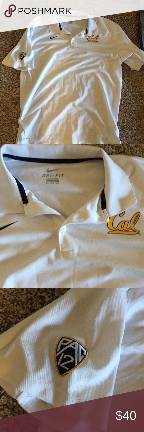 Men's white polo Selling men's white Cal university pac 12 school polo! Used but in good shape. Only worn once. Size XXL Nike Shirts Polos