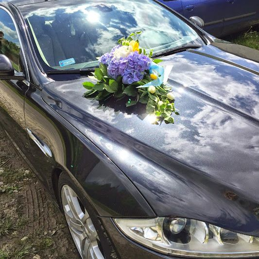 #blue #wedding #car