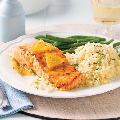Pavés de saumon glacés à l'orange et au romarin - Recettes - Cuisine et nutrition - Pratico Pratique