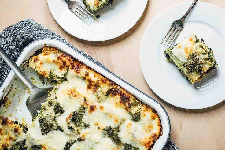Three cheese pesto lasagna