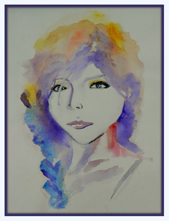Portrait Painting Of A Woman Watercolor On Canvas Sprayed With A