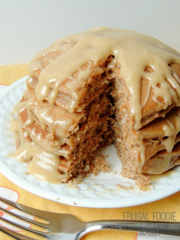 Cake Mix Carrot Cake Pancakes with a Biscoff Cream Cheese Glaze