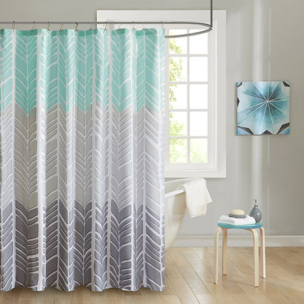 Create A Colorblocked Look In Your Bathroom With Home Essence Apartment Amanda 100 Percent Microfiber Printed Shower Curtain This Geometric Chevron Design