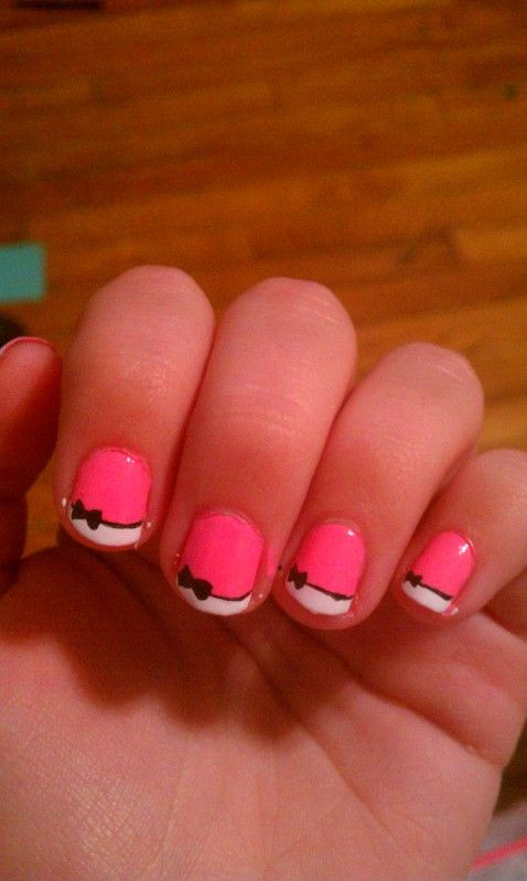 so cute.: Nails Art, Bows Ties, Bows Nails, Cute French Nails, Pink Bows, Nails Ideas, French Tips, Hello Kitty Nails, Bows French