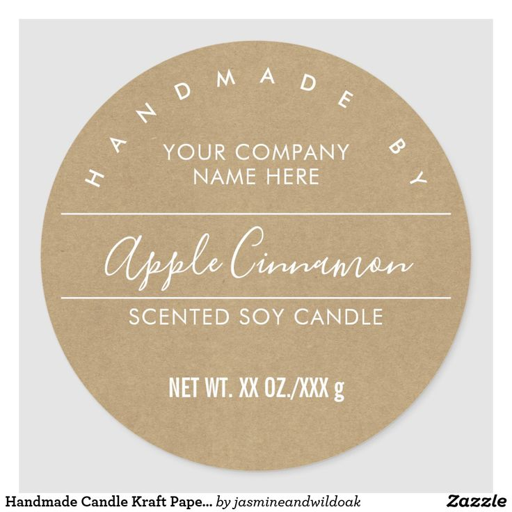 Handmade Candle Kraft Paper Look Product Label   Zazzle ...
