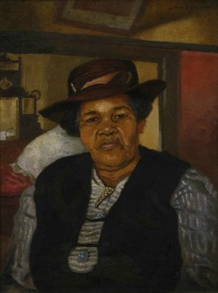 Artwork by George Pemba, THE ARTIST'S MOTHER, Made of oil on canvas