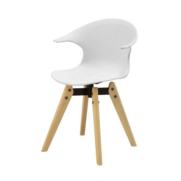 Scaun alb cu picioare din lemn Aemely
