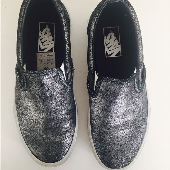 Silver Leather Vans Trendy Vans. Wear is on bottom and sides of the white lining are scuffed. Lots of life left though! Vans Shoes Sneakers
