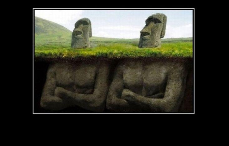 Moai Statues Aerial Panorama