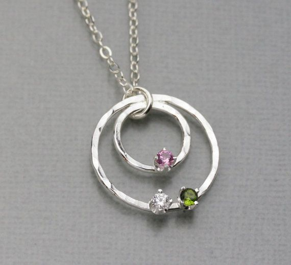 Mothers Birthstone necklace, Sterling Silver Birthstone Jewelry, Handmade Birthstone Pendant, Hammered Silver Circle Necklace