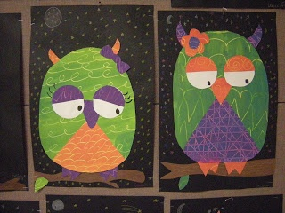 painting the secondary colors and then making these cute owls!