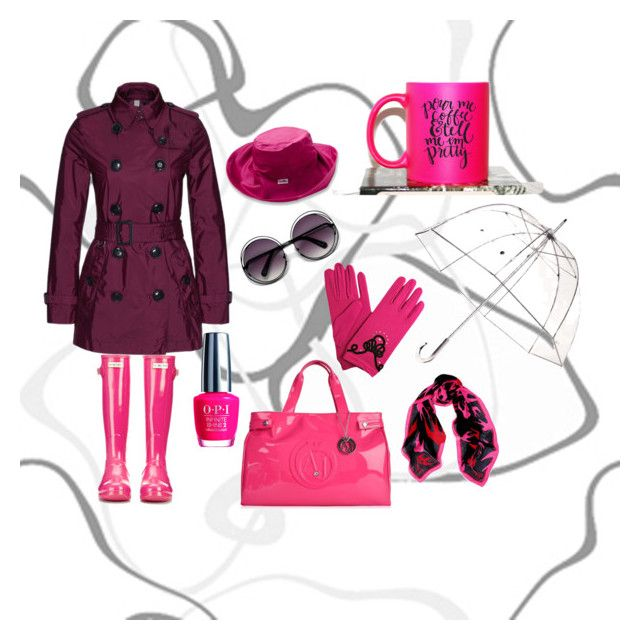 """""""When life gives you rainy days, wear cute boots & jump in the puddles"""" by lbdstyleandimage on Polyvore featuring Burberry, McQ by Alexander McQueen, Totes, Armani Jeans, OPI and UV Skinz"""