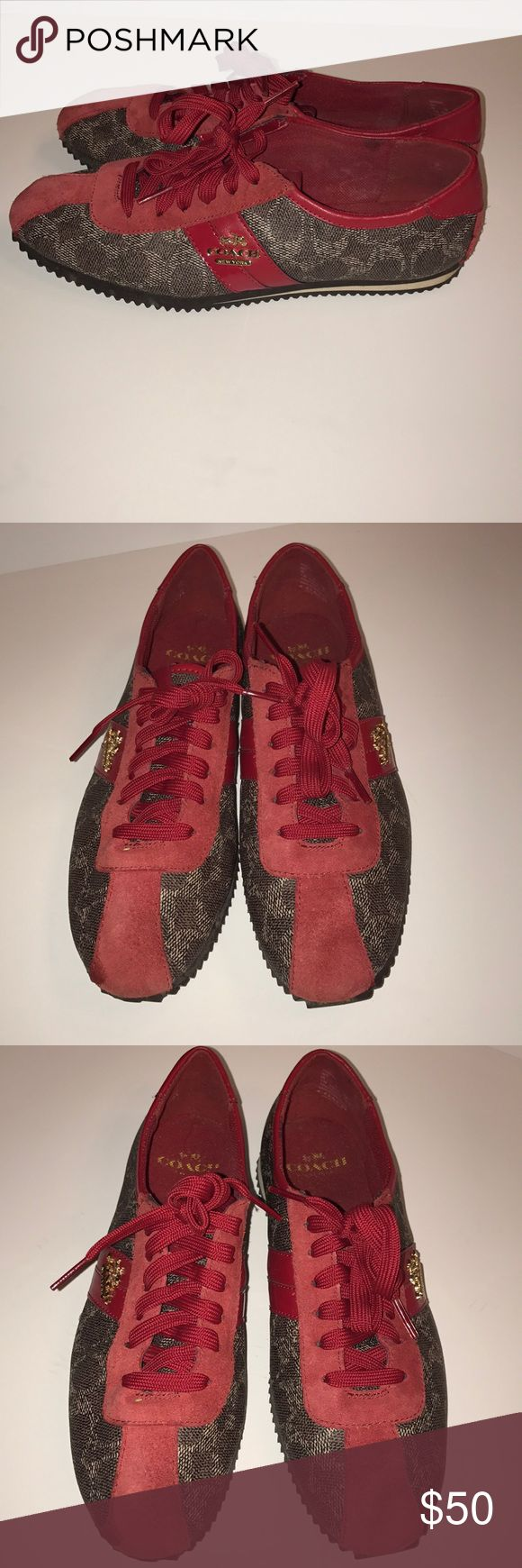 Red and brown Coach sneakers Red and brown Coach sneakers Coach Shoes Sneakers
