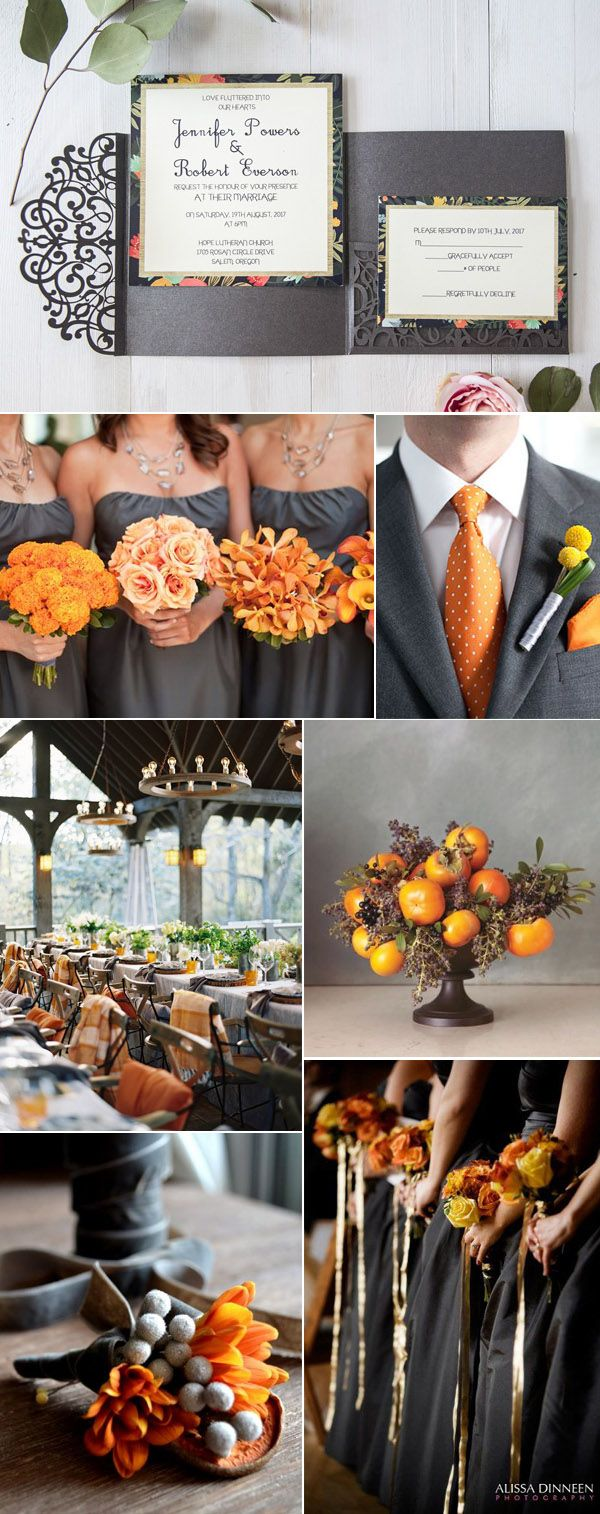 dark warm grey and orange fall wedding color inspiration