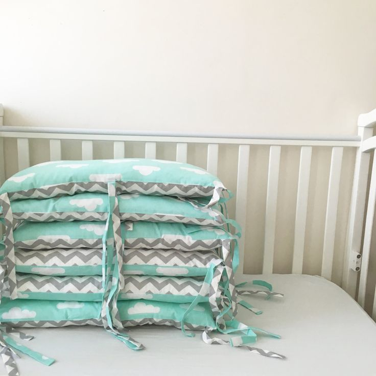 Crib Bumpers - Baby Bedding Bumper - Clouds Bedding - Handmade Cradle Bumper - Grey Chevron Bumper - Mint Clouds Bumper - Baby Cot Bumper by KarambaKids on Etsy