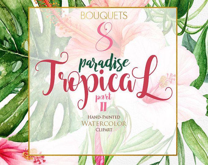 Tropical de acuarela de flores y hojas trópico Ramos Imágenes Prediseñadas, hibisco, rosa, naranja Floral, brillante verde follaje, invitación de la boda, png