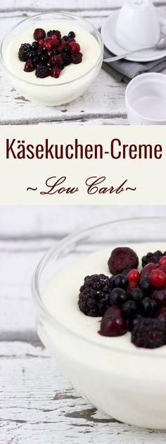 Low Carb Käsekuchen-Creme im Glas mit Waldbeeren und Xucker Xylit/Birkenzucker als Zuckerersatz #rezept #lowcarb #xucker