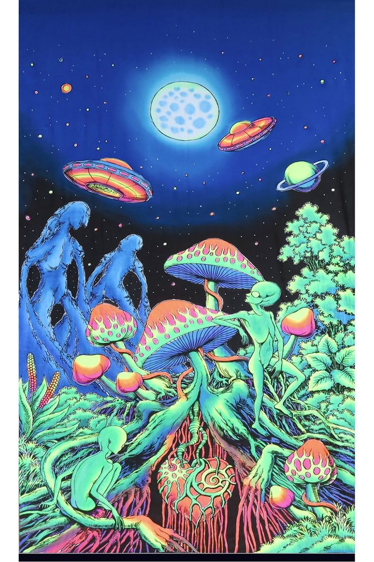 UV Wallhanging : Alien Shrooms Hand painted & printed batik wallhanging / tapestry UV Active ! Size 1.2m x 1.9m 100% rayon, fully machine washable. (Wash seperately the first time as colours may run.) Artwork by Budi Rasta