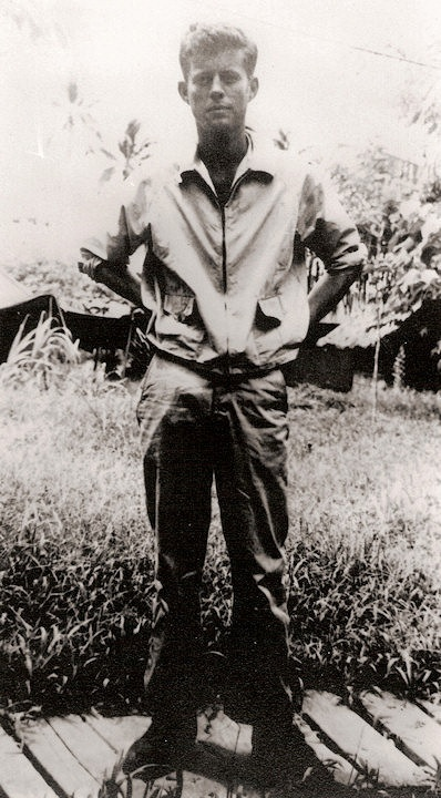 John F. Kennedy as a member of the US Navy in the Solomon Islands in 1943.