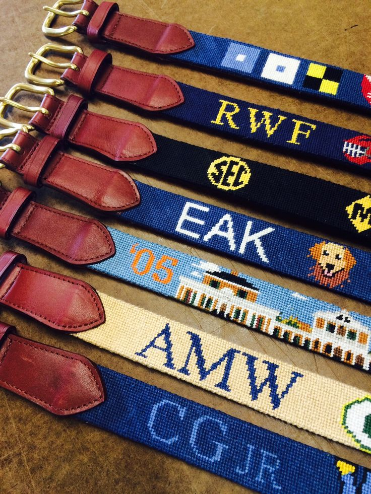 Needlepoint Belt Monograms! A list of our favorite ideas.  #needlepoint #customneedlepointbelt
