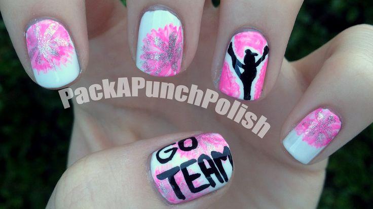 Cheerleading #nail #nails #nailart with ur gym/team colors