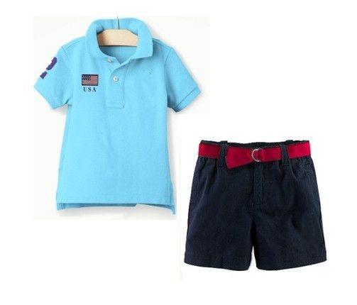 Мальчики POLO баннер печать футболки + шорты костюм дети мальчики лето t рубашка морской синий брюки комплект два частей 6 комплект / много