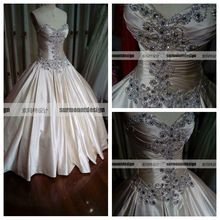 CH1906 Beautiful sweetheart beaded top floor length cheap stock real picture wedding dress size 6