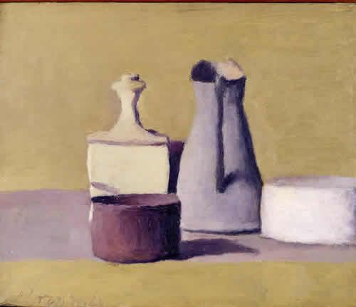 Giorgio Morandi I chose this painting because it almost looked like that it was a photo of a clay model. This particular art piece was interesting because it looked like it had a texture to it.