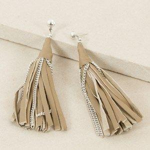 Leather Tassel Drop Stud Earring