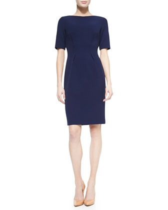 Claire+Boat-Neck+Dress,+Navy+by+Lela+Rose+at+Neiman+Marcus.